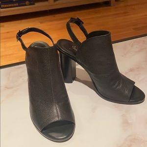 Joie Leather Open Toe Heel Black